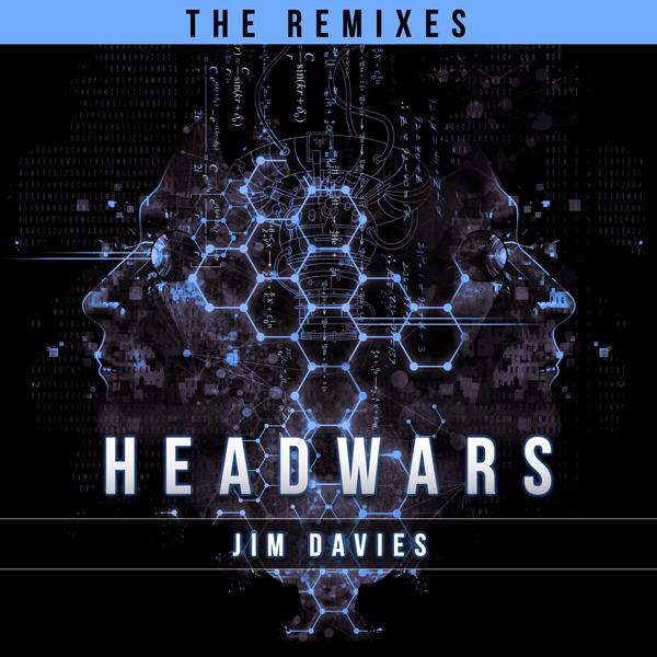 Album art for the EDM album HEADWARS–THE REMIXES by JIM DAVIES.