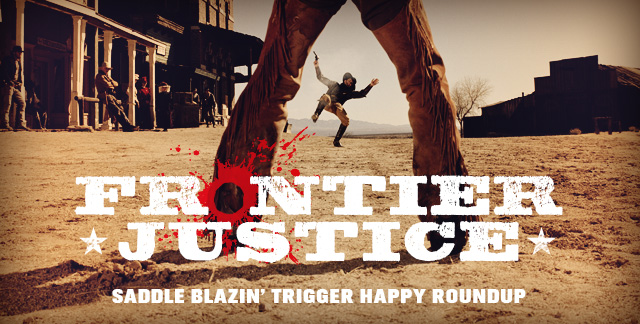 Art for FRONTIER JUSTICE : SADDLE BLAZIN' TRIGGER HAPPY ROUNDUP.