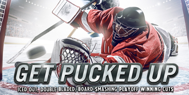 Art for GET PUCKED UP : ICED OUT, DOUBLE BLADED, BOARD-SMASHING PLAYOFF WINNING CUTS.