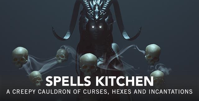 Art for SPELLS KITCHEN : A CREEPY CAULDRON OF CURSES, HEXES, AND INCANTATIONS.
